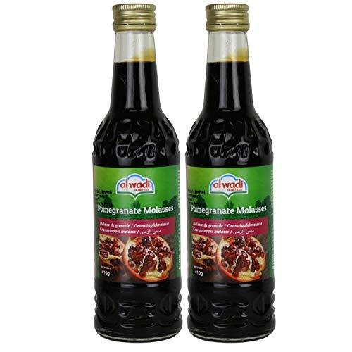 Al Wadi - Original Granatapfelsirup - Granatapfel Sirup zum Verfeinern und Veredeln von Soßen und Dips - Grenadine im 2er Set á 410 g Glasflasche