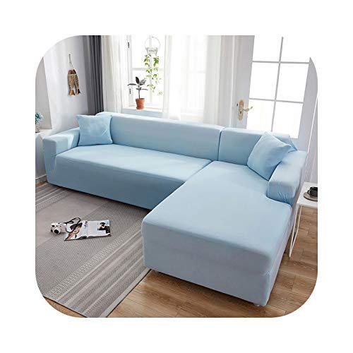 HCIUUI Grey Plain Color Elastic Stretch Sofa Cover Need Order 2 Piece Sofa Cover If L-Style Fundas Sofas con Chaise Longue Case for Sofa-Light Blue-4-seater 235-300 cm