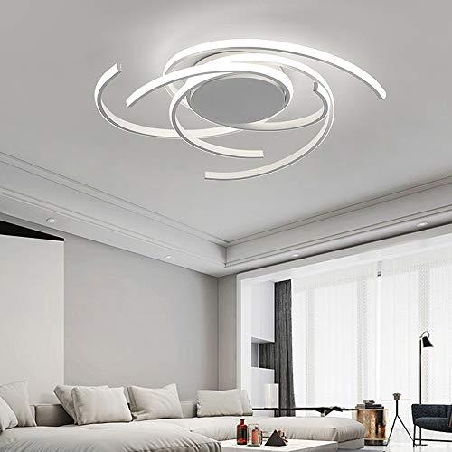 Lámpara de techo LED, 72 W, lámpara de techo en espiral, lámpara para salón, edificios, comedor, mando a distancia regulable, regulable (blanco)