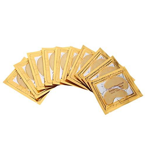 Patchs pour les Yeux Au Collagène, 10 Paires de Masque pour les Yeux en or Moisture Anti Aging Remove Eye Bags Cercles Sombres et Bouffissures Anti Rides Hydratant Uplifting Whitening