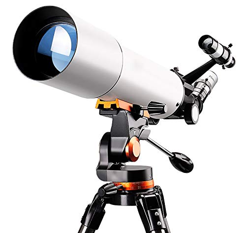 GSYNXYYA Telescopio Astronomico,Telescopios de Aguas estelares de la profesión para Principiantes,telescopio de Refractor de astronomía 80 mm, con trípode Ajustable, Ocular 25 mm/10 mm