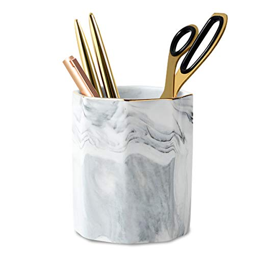WAVEYU Pen Holder, Stand for Desk Marble Pattern Pencil Cup for Girls Kids Durable Ceramic Desk Organizer Makeup Brush Holder for Office, Classroom, Home, Gray Marble