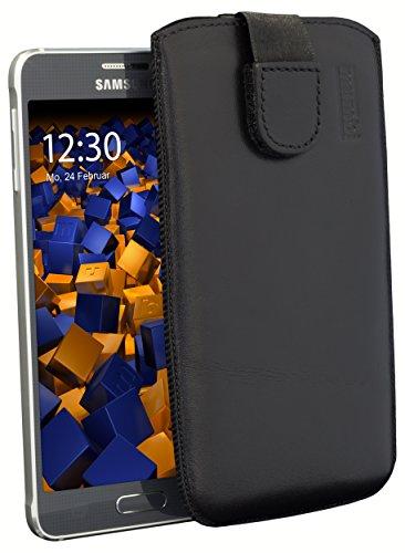 mumbi ECHT Ledertasche Samsung Galaxy Alpha Tasche Leder Etui (Lasche mit Rückzugfunktion Ausziehhilfe)