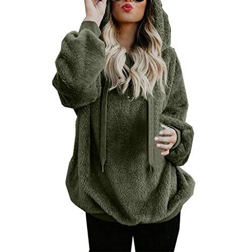 Women's Sweater Hoodies Faux Fur Autumn Winter Warm Hooded with Zipper Pockets Fuzzy Fleece Sweatshirt Fluffy Coat Outerwear Comfortable Loose Hooded Sweater