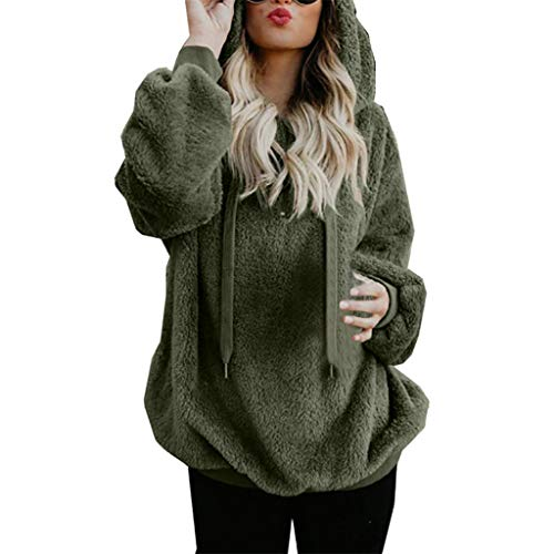 Lazzboy Women Jumpers Sweatshirt Hoodie Long Sleeve Zipper Pocket Fleece Hooded Loose Plus Size(Army Green,2XL(16))