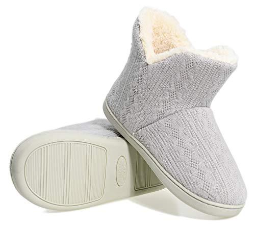 AONEGOLD Pantofole Donna Invernali Ciabatte Uomo Ragazze Maglia Tessuto Pantofola Calde Peluche Stivaletto Scarpe da Interno Antiscivolo(Grigio,Taglia 38-39)