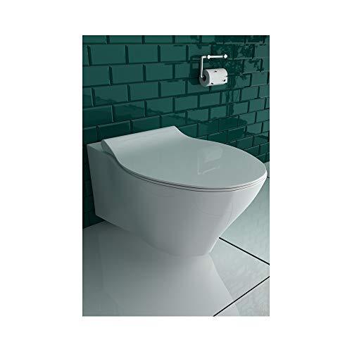 Inodoro de pared sin borde de cerámica con función de cierre suave y función Quick Release
