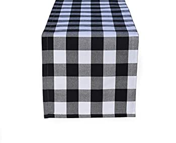 home·fsn 14 x 60 inch Tablerunners 100% Cotton Buffalo Check Table Runner for Family Dinner Outdoor or Indoor Parties Black and White