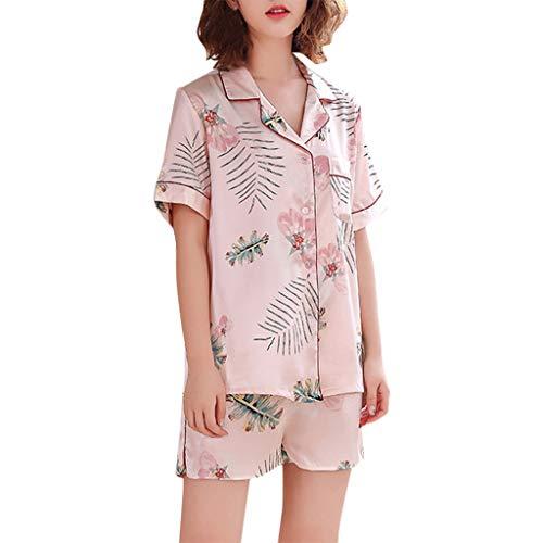 Underwear Damen FGHYH Frauen Simulation Silk Printing Pattern Pyjamas Nachtwäsche Nachtwäsche Set(XXL, Rosa)