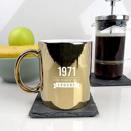 eBuyGB Taza de café de cerámica con grabado de 50 cumpleaños para papá de 50 cumpleaños, para hombre, de 350 ml, con texto en inglés