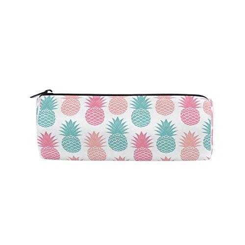 KUWT Pencil Bag Multicolor Pineapple Pattern, Pencil Case Pen Zipper Bag Pouch Holder Makeup Brush Bag for School Work Office