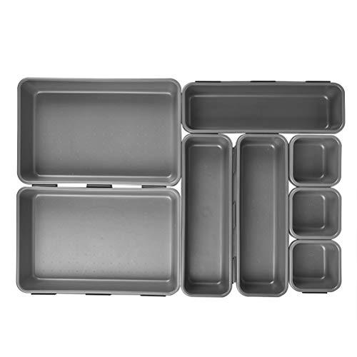 Idealeben 8 Stück Set Schubladen Organizer Ordnungssystem zur Aufbewahrung für Schminktisch Kosmetik Küche Büro,Transparent und Variabel aus Kunststoff