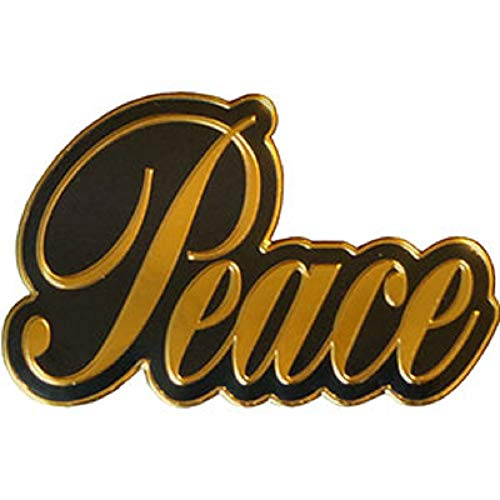 Peace Signs Script ON Gold Metal Sticker - Officially Licensed Peace Sign Orignal Artwork Metal Sticker - 3' x 3.625'