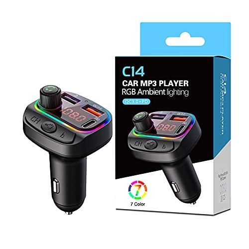 CeruleTree Auto Bluetooth FM Transmitter,RGB Umgebende Leuchte Drahtloser Radio Kfz-Empfänger Adapter mit Freisprecheinrichtung, Auto Radio Deep Bass,Dual USB Anschlüsse PD Typ-C QC 3.0 Schnellladung