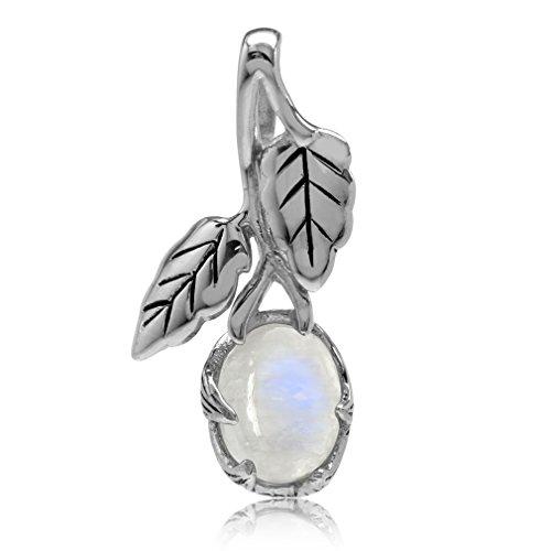 Silvershake Natural Moonstone 925 Sterling Silver Leaf Vintage Inspired Pendant