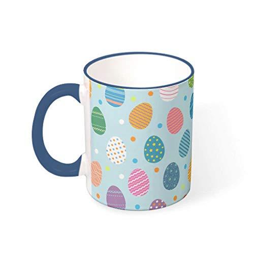 IOVEQG Taza de porcelana antideslizante para microondas con mango divertido regalos para usted y su amigo azul medianoche 330ml