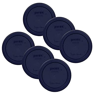 Pyrex 1 Cup Round Plastic Cover Lids, 6-Pack, Blue