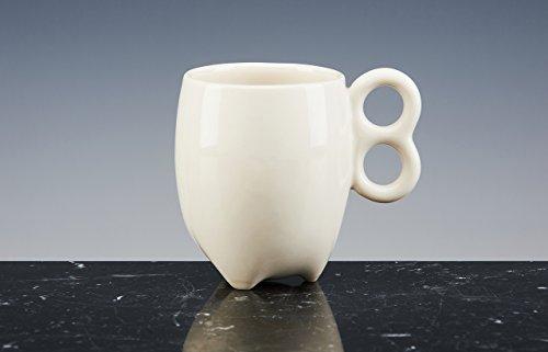 Mug à Thé énergétique et à café Porcelaine émaillée blanche ; fait à la main tasses design !