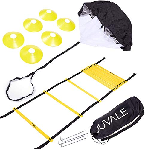 Juvale Speed and Agility Ladder Training Set with 6 Cones and Resistance Parachute