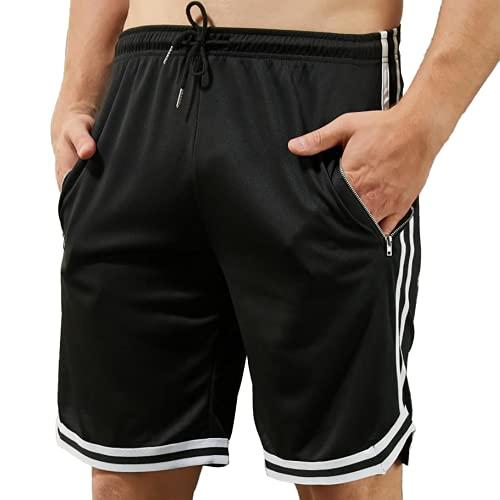 VANVENE Pantalones cortos de entrenamiento para hombre con bolsillo con cremallera