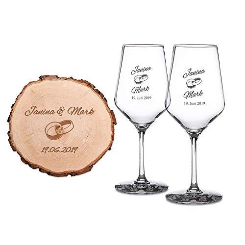 Casa Vivente Rodaja de Árbol y 2 Copas de Vino Blanco con Grabado Individual Motivo: Anillos – Idea para Regalo de Bodas Regalo para Parejas Detalles Bonitos para San Valentín