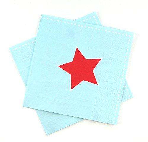 Sambellina 20 chique papieren servetten in lichtblauw met een rode ster