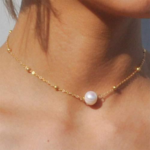 Forall Boho Collar Colgante De Perlas Cadena De Cuello Corto Gargantilla Con Cuentas Joyas De Cadena Para Mujeres y Niñas (Dorado)