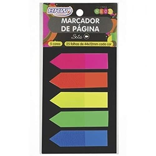 Marcador De Pagina Adesivo 12X44Mm Neon Seta 5 Cores Brw