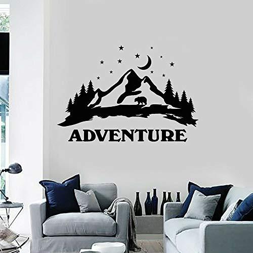 Wopiaol Grote vinyl wandtattoo voor slaapkamer 's nachts maan beer avontuur bergen landschap wandsticker decoratie woonkamer afneembaar