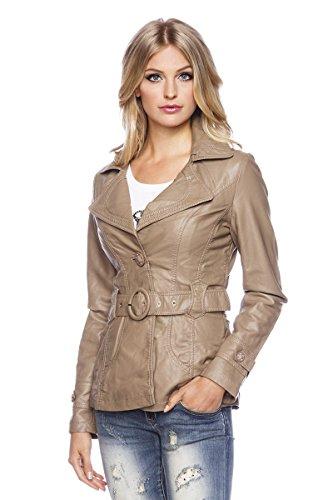 Imitatie lederen jas riem gevoerde optiek Womens dames gemonteerd brede kraag nieuw, kleur: kameel;Grootte: L