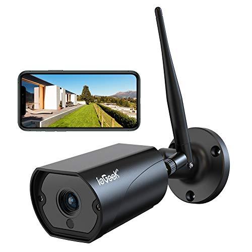 Caméra de Surveillance WiFi, ieGeek Caméra IP Extérieur HD 1080P sans Fil, Caméra Sécurité étanche IP66 avec Audio Bidirectionnel, Vision Nocturne, Alerte de Détection de Mouvement Email Push (Noir)