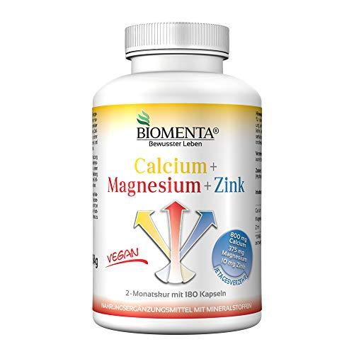 BIOMENTA Calcium + Magnesium + Zink – 180 vegane hochdosierte Multimineralien Kapseln mit 100{bec28cb340b514cd6903acf07780862647df53b1122ce808aa9ceb0aaeccec07} NRV - 2 Monatskur