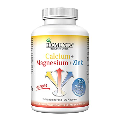 BIOMENTA Calcium + Magnesium + Zink – vegan - Mineralstoffkomplex hochdosiert mit 100% NRV - 2 Monatskur - 180 Mineralstoff-Kapseln – Mineralstoffe und Spurenelemente, Sport Mineralien, Nahrungsergänzung