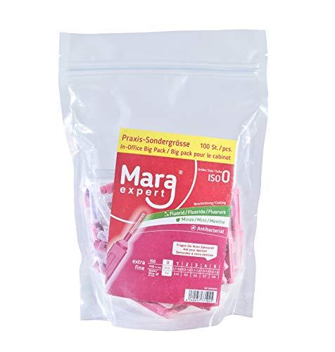 Mara Expert - Spazzola interdentale, 0,4 mm, ISO 0, extra fine, 100 scovolini interdentali, 16% extra, per spazi interdentali, con gusto menta, cloresidina, fluoruro