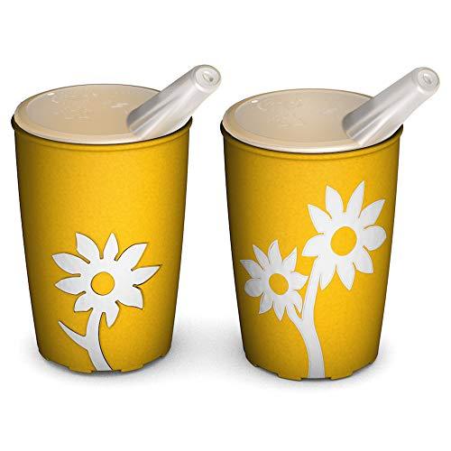 Ornamin Becher mit Anti-Rutsch Blume 220 ml gelb/weiß und Schnabelaufsatz 2er-Set (Modell 820 + 806) / Schnabelbecher, Trinkbecher, Kinderbecher