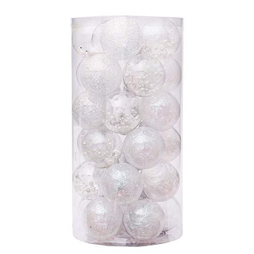 Zinsale 6cm/2.36' 30pz Bagattelle per Alberi di Natale Sfere di plastica infrangibili Palle di Natale Decorazioni per Alberi Pendenti per Ornamenti Decorazioni per Feste (Bianca)