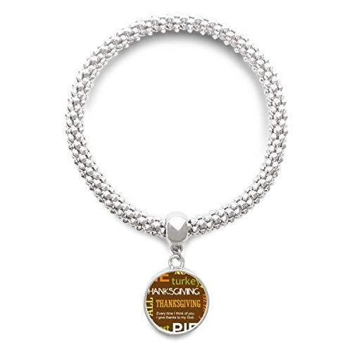 DIYthinker Womens Thanksgiving Day Autumn Pie Pattern Sliver Bracelet Round Pendant Jewelry Chain