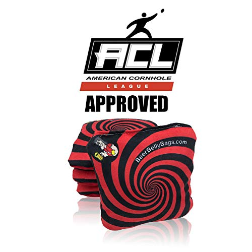 Beer Belly Bags Cornhole - Performance Series Set of 4 Bags ACL Approved Resin Filled - Double Sided - Sticky Side | Slick Side (Red)
