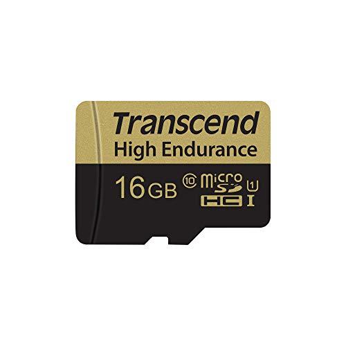 Transcend 16GB High Endurance microSDXC/SDHC Speicherkarte TS16GUSDXC10V / bis zu 95 MBs lesen und 45 MBs schreiben