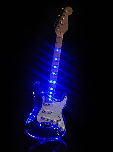 L'MS Clear Acrylic See-Thru Body Vintage Style Electric Guitar With LED Light (Blue LEDs)
