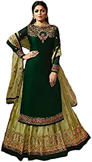Women's Satin Georgette Fabric Embroidered and Diamond Work Sharara Suit (LNF356, Green, 46)