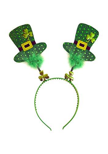 St Patrick's Day Irish Shamrock Wiggly Mini Top Hat Headband