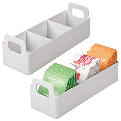 mDesign Plastic Kitchen Pantry Medicine Cabinet Countertop Organizer Storage Station Tea Caddy Holder - Holds Beverage and Tea Bags Sweetener Individual Packet Condiments - 9 Long 2 Pack - Gray