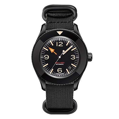 Undone Basecamp Militar Vintage Automático Acero PVD Negro Tela Fecha Hombre Reloj