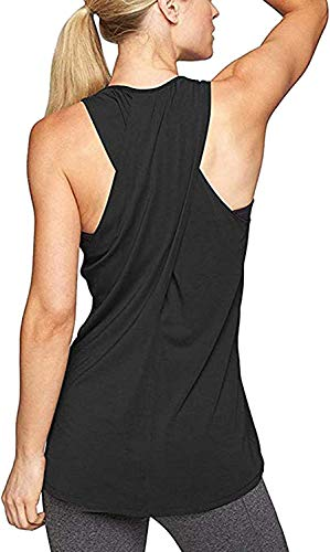 Aibrou Damen Tank Top Kreuz Rücken Yoga Sport T-Shirt Racerback Trainingskleidung Schwarz L