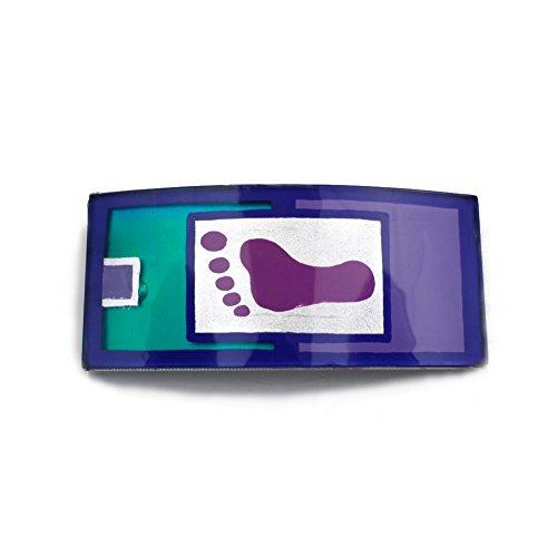 rougecaramel - Barrette cheveux rectangulaire 10cmx4,5cm motif pied bleu