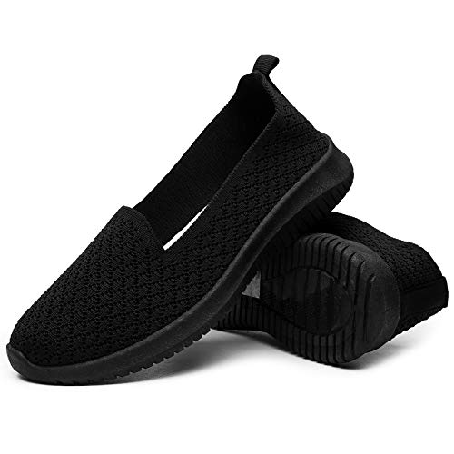 BENPAO Womens Slip On Loafers Shoes Knit Mesh Sneakers Breathable Walking Shoes for Women(US8,Black) Massachusetts