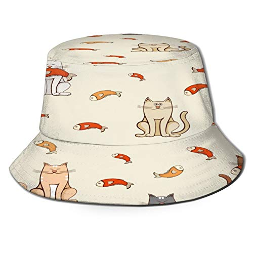 Yoliveya Angelhut Fischerhut,Katzenfisch nahtloses Muster,Bonie Safari Sonnenhüte zum Wandern im Freien für Männer und Frauen