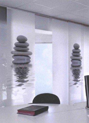erfal Wohnideenshop Silence Paroi japonaise avec bande Velcro Noir/blanc/motif pierres 60 x 245 cm