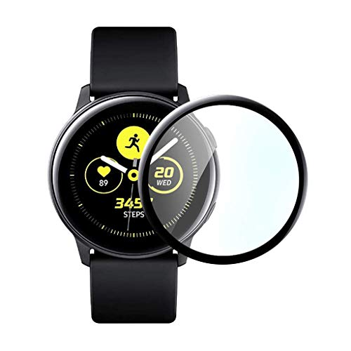Shan-S for Samsung Galaxy Watch Active 2 Screen Protectors 44MM,3D Full Coverage Anti-Shatter Soft Fibre Tempered Glass Screen Protector for Galaxy Watch Active 2 44MM